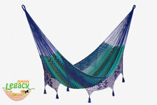 Deluxe King Size Outdoor Cotton Mexican Hammock in Caribe colour by ML
