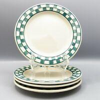 4 Hartstone Green Checks Salad Plate Checkmates Checkerboard Checked Farmhouse