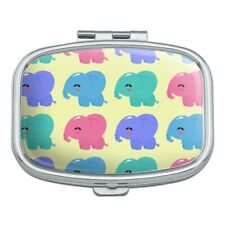 Cute Kawaii Baby Elephants Pattern Rectangle Pill Case Trinket Gift Box