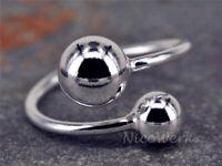 Silberring Kugel Doppel Schlicht Glatt Glänzend Ring Silber 925 Verstellbar