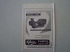 advertising Pubblicità 1955 NIJHUIS PUMP - WINTERSWIJK