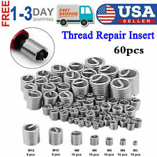 60pcs Stainless Steel Thread Repair M3 M4 M5 M6 M8 M10 M12 Wire Screw Sleeve New