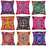 "Zip Cushion Cover 16x16"" 40cm Indian Art Silk Embroidered Tapestry Flower Leaves"