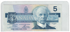 1986 Bank of  Canada $5 Dollar Note Crow / Bouey ENA Yellow BPN