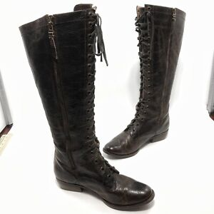 ✅❤️✅@ Fossil Women Brown Distressed Leather Tall Pull-On Boots Side Zip 9.5 Eu41