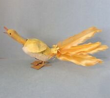Nodder Duck Goose Paper Mache Holiday Toy Felt Feather Bobbin Head Vintage