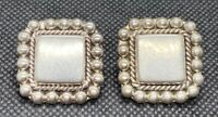 "Vintage Sterling Silver 925 Ornate Studded Square Pierced Earrings 1"" 15.1g"