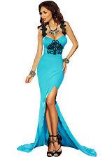Abito lungo aperto Scollo coda nudo Spacco Ricamo Cerimonia Maxi Evening Dress M