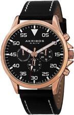 Akribos XXIV Ak773rgb Swiss Quartz Day Date GMT Rosetone Black Mens Watch