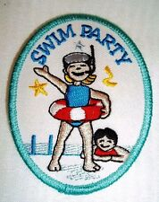New Embroidered SWIM PARTY Patch ~ SWIMMING Iron On Embroidery Patch