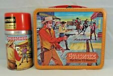 "1959 VINTAGE ALADDIN GUNSMOKE ""DOUBLE LL"" LUNCHBOX & THERMOS  * NEAR MINT * TAGS"