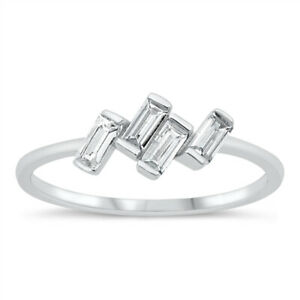 925 Sterling Silver Jagged Scattered Baguette Cubic Zirconia CZ Stacking Ring