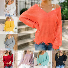 Womens V Neck Knitted Sweater Jumper Off Shoulder Pullover Knitwear Tops Blouse