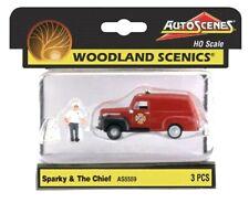 Ho Scale Woodland Scenics AutoScenes As5559 Sparky the Dalmatian & Fire Chief