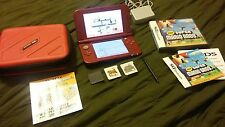 The New Nintendo 3DS XL Red Handheld System with case & Mario games lot bundle @