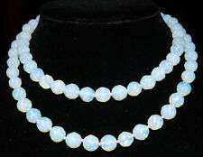 """Round Beads Gemstone Necklace 36"""" Aaa Pretty Natural 10mm Faceted White Opal"""