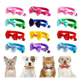 Dog & Cat Kitten Small Pet Puppy Adjustable Neck Collar with Bell Bow Tie Dots
