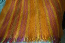 """Vintage HUDSON'S BAY Mohair Wool Blend Striped Throw 42.5""""X64"""" ~Made in Scotland"""