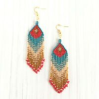 Extra long ombre earrings, Native American style, seed bead earrings,