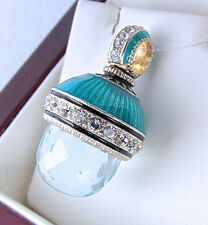 GORGEOUS RUSSIAN HANDMADE OF SOLID STERLING SILVER 925 AQUAMARINE EGG PENDANT