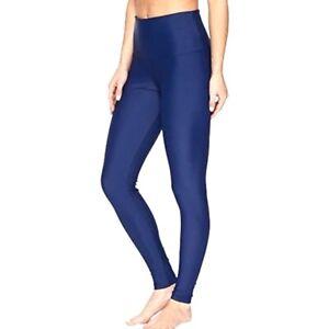 Onzie Hot Yoga High Rise Legging Womens M/L Navy Blue Metallic