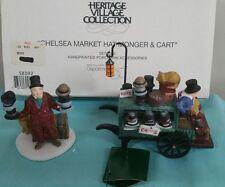Depat 56 heritage village set porcelain Chrlsea market Hat monger & cart Iob