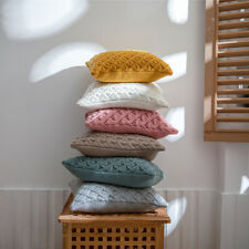 Knitted Pillow Case Cushion Cover Sofa Bed Pillowcase Throw Waist Solid Color
