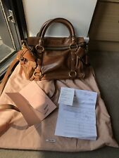 Miu Miu Brown Vitello Lux Fold-Over Bow Bag