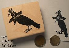 P60 Halloween Crow with witch hat rubber stamp