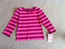 NWT Toddler Girl's 2T Pink Striped Knit Shirt Top with Flower Circo
