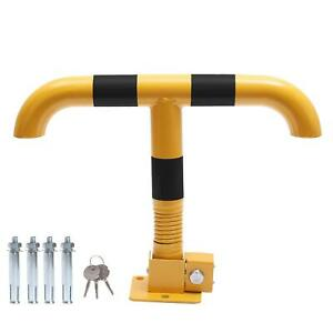 Car Parking Space Lock Bollard Yellow & Black T Shape  With Spring