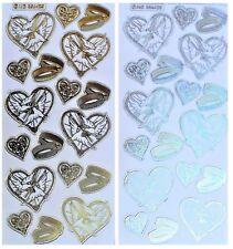 WEDDING SENTIMENTS Peel Off Stickers Bride Groom Hearts Gold Silver White