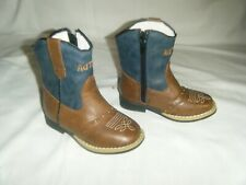 "AdTec Tecs Toddler Boy's 6"" Side Zipper Western Cowboy Boot, Navy/Brown."