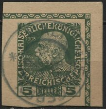 Austria 5h green Franz Josef. cut square card used