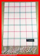 100% Cashmere Think Scarf Pink Grey Plaid Made in Scotland Warm Wool #12-4