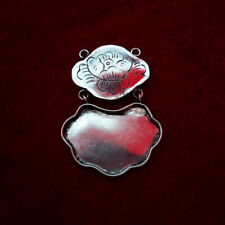 embed 2layers lock necklace pendant Accessory hand-carved peony Miao silver Diy
