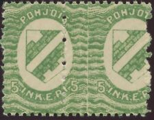 INGERMANLAND 1920 5 (P) green VF U/M pair, VARIETIES: TOTALLY MISPERFORATED, RR!