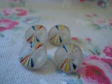 4 Vintage Clear  Glass Buttons  - Painted Line Pattern