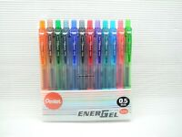 12 Color NEW COLOR Pentel Ener Gel BLN-105 0.5mm rollerball pen W/plastic case