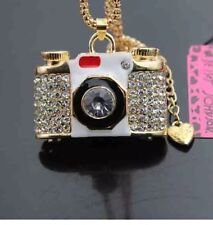 Cute NWT Betsey Johnson Necklace Camera 🎥 White Gold Sparkles Photographer