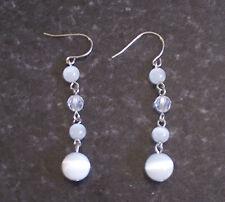 White cat's eye dangly earrings
