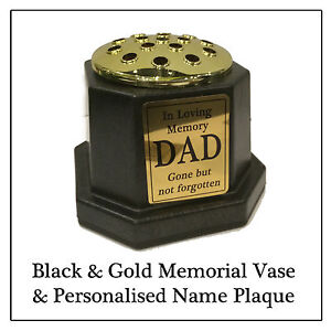 Memorial Plaque Flower Vase -Black Grave Pot & Personalised Gold Plaque Any Name