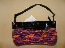 NEW Mac & Jac Purse Handkerchief Print Black Patent Leather trim Pink Orange