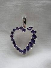 Purple Amethyst Heart Pendant in Sterling Silver BRAND NEW STOCK!!