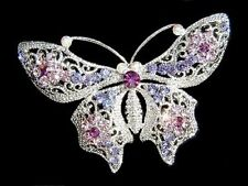 ~Purple BUTTERFLY~ made with Swarovski Crystal Pin Brooch BRIDAL Wedding Jewelry