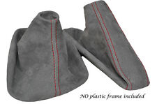 RED STITCH MID GREY SUEDE MANUAL GAITER SET FITS BMW 5 SERIES E39 1996-2004