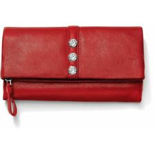 NWT Brighton NOLITA SHIMMER Large Foldover Wallet Leather LIPSTICK Red