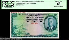 """BRITISH CARIBBEAN TERRITORIES P3s $5 """"MAP NOTE"""" 1964 PCGS 63! EXTREMELY RARE!"""