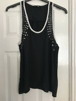 Women's Black Floaty Vest Top With Stud Detail Size M/L