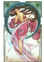 ART NOUVEAU ALFONS MUCHA BEAUTIFUL WOMAN PAINTING THE DANCE POSTCARD - NEW